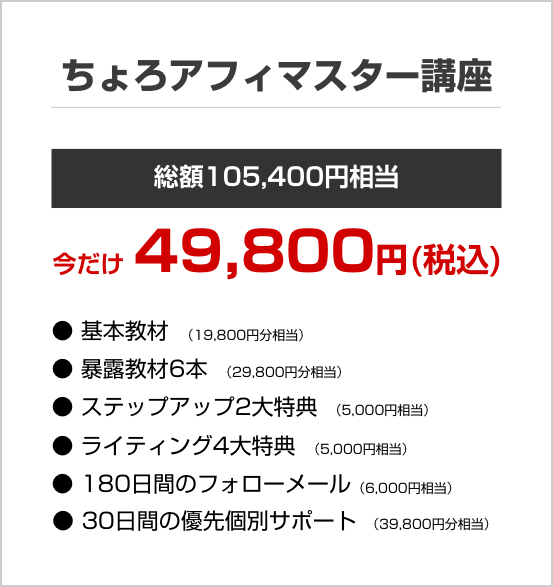 プロ49800円ちょろアフィの基本教材に加えて、安心のサポート、返金保証のついた一番人気のプラン